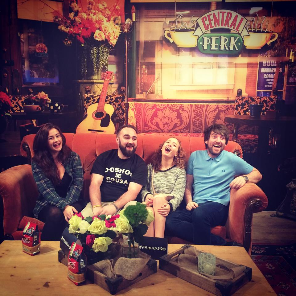 cheesy flatmates on the central perk sofa