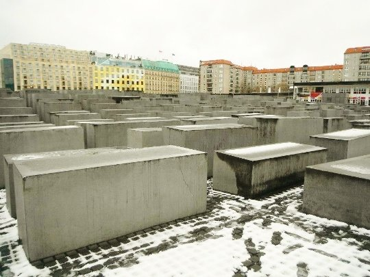 berlin holocaust memorial in winter