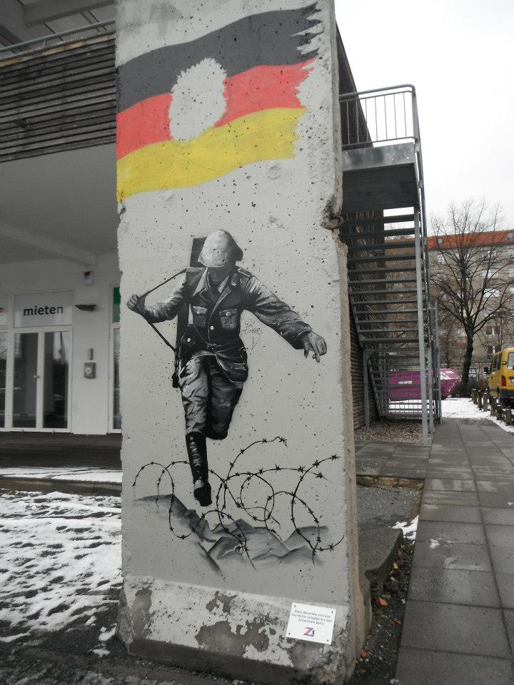 Leaping soldier Berlin wall