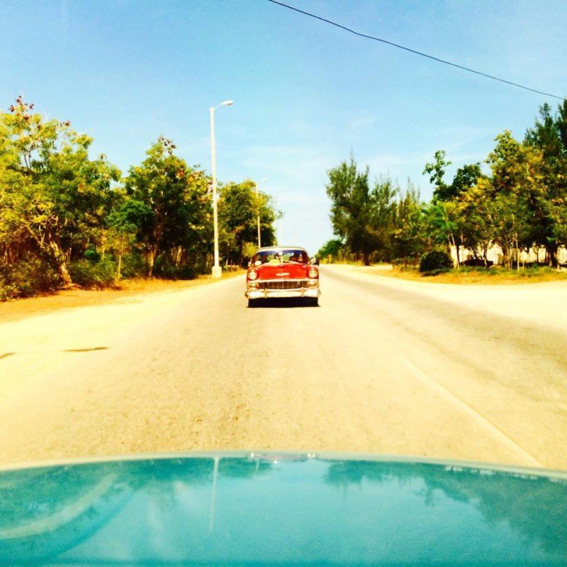 Vintage car rear view in Cuba