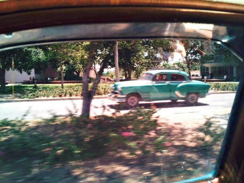 Blue classic car in Cuba