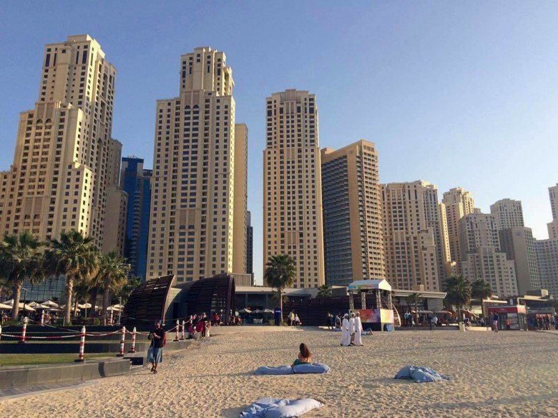 Jumeirah lake towers from beach