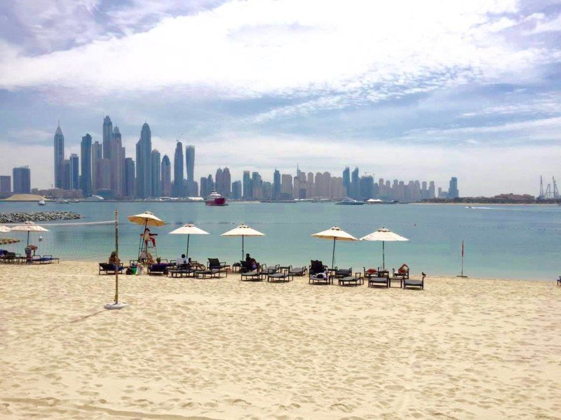 Beach view of Dubai marina skyline
