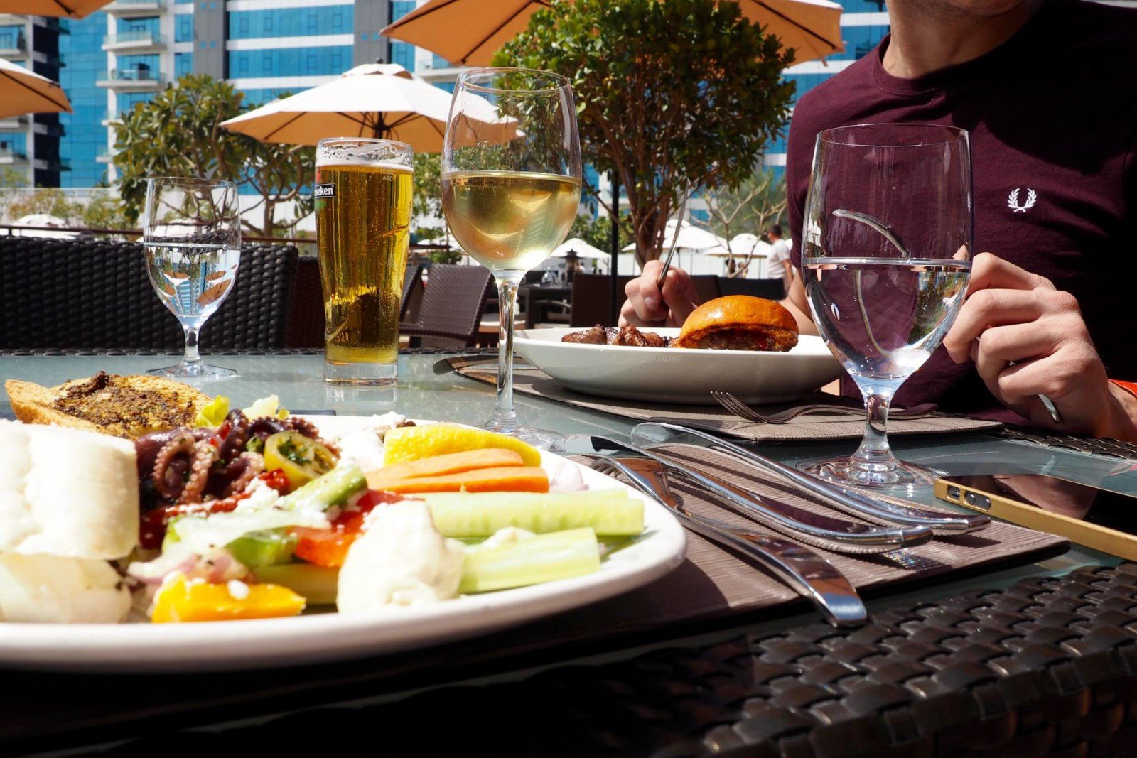 Sun and plate of food at West 14 on the Palm in Dubai