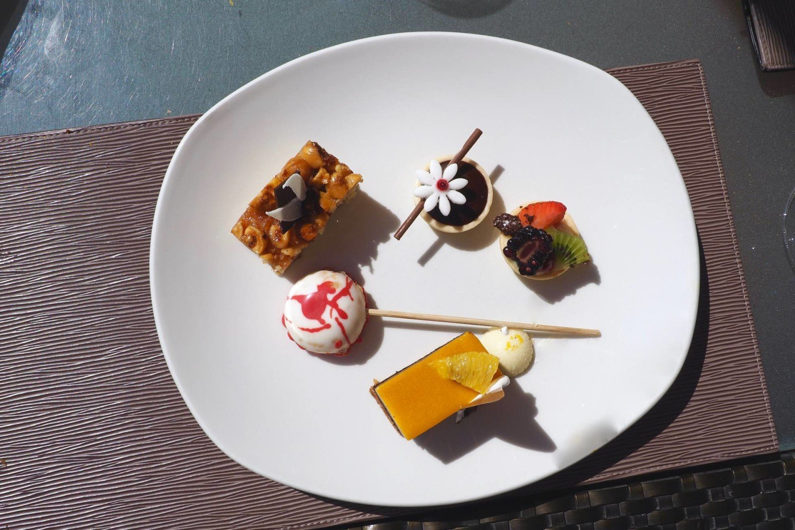 tiny desserts at West 14 on the Palm in Dubai
