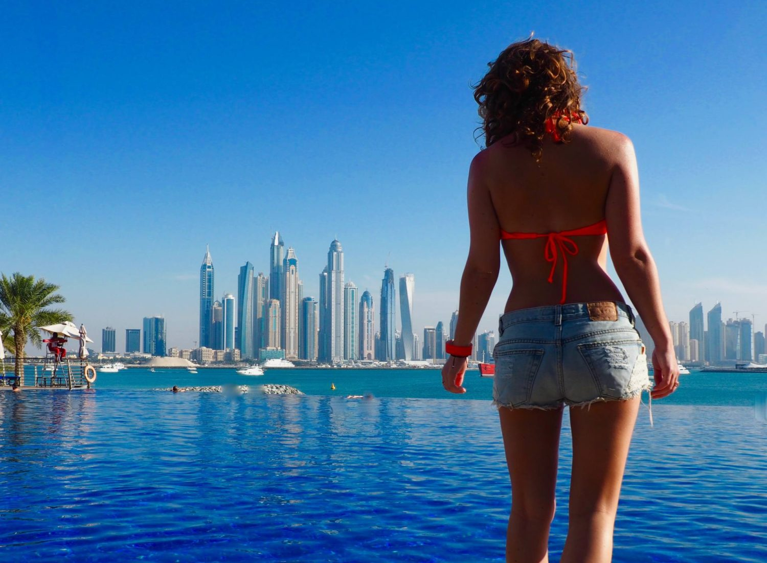 dubai girl marina pool