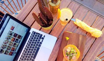 laptop and food flatlay