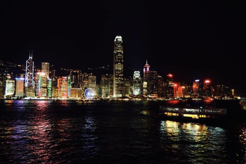 Hong Kong island nighttime skyline