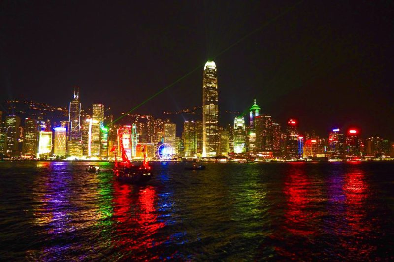 Hong Kong island nighttime skyline symphony of lights