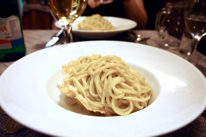 pasta in a bowl made from cheese in rome