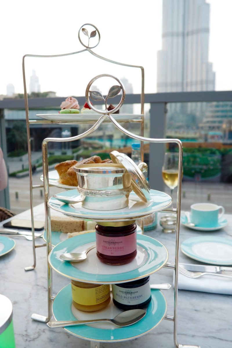 Afternoon Tea at Fortnum & Mason Dubai opposite Burj Khalifa