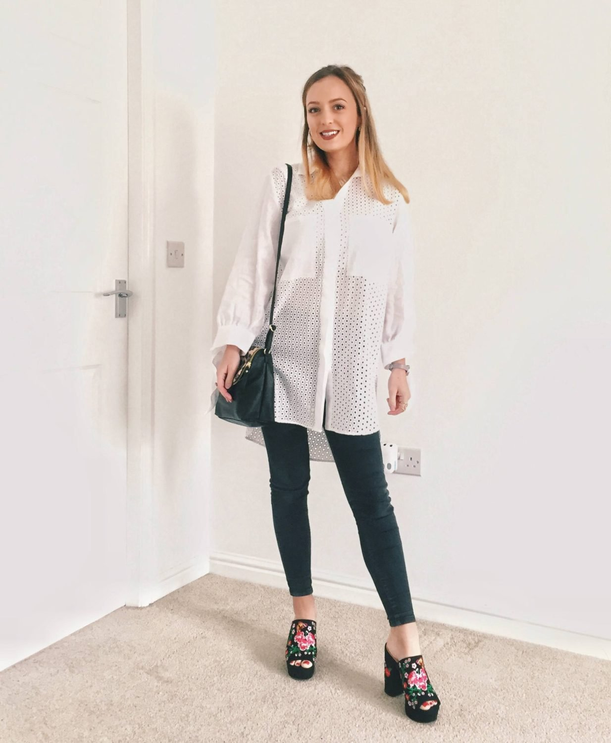 White shirt, black skinnies and printed mules