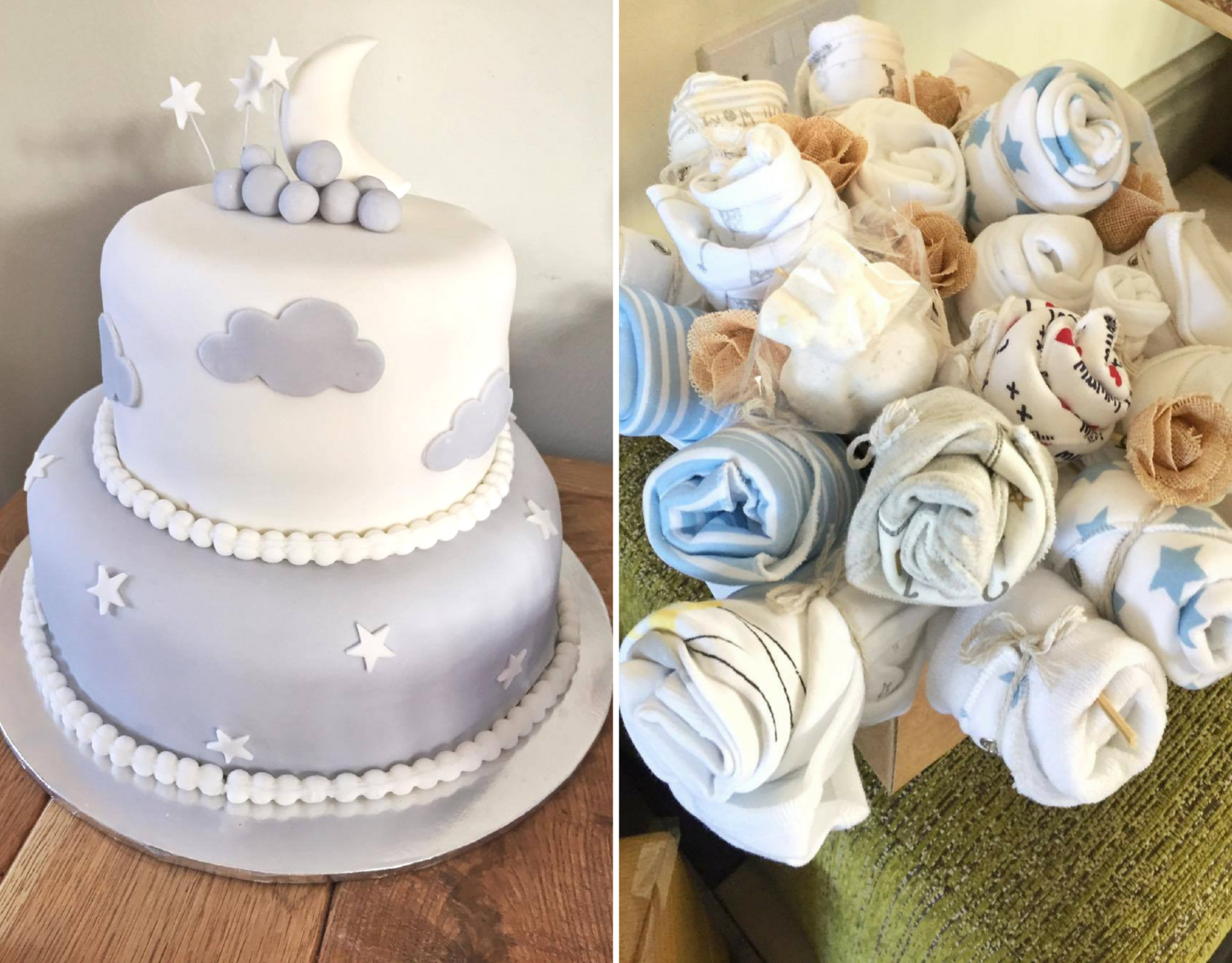 Baby shower cake and bouquet