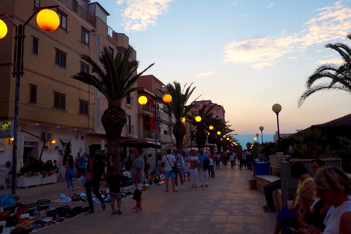Margherita Di Savoia promenade at sunset
