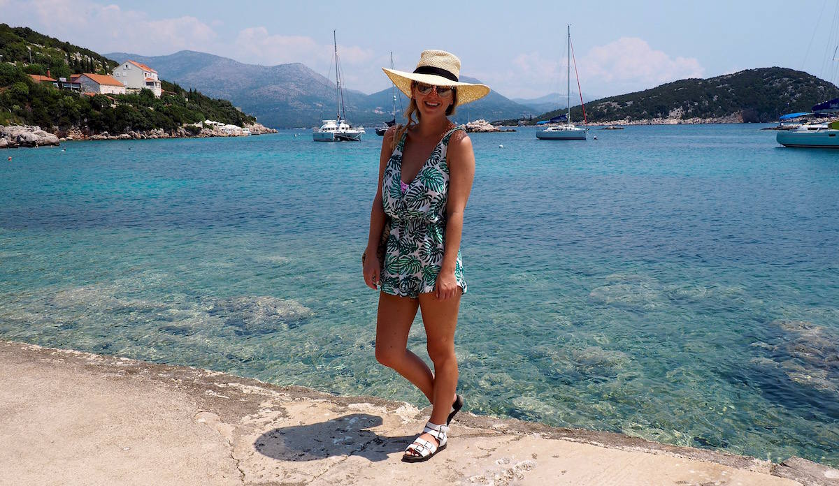 Girl on Sipan island: best islands to sail to from Dubrovnik