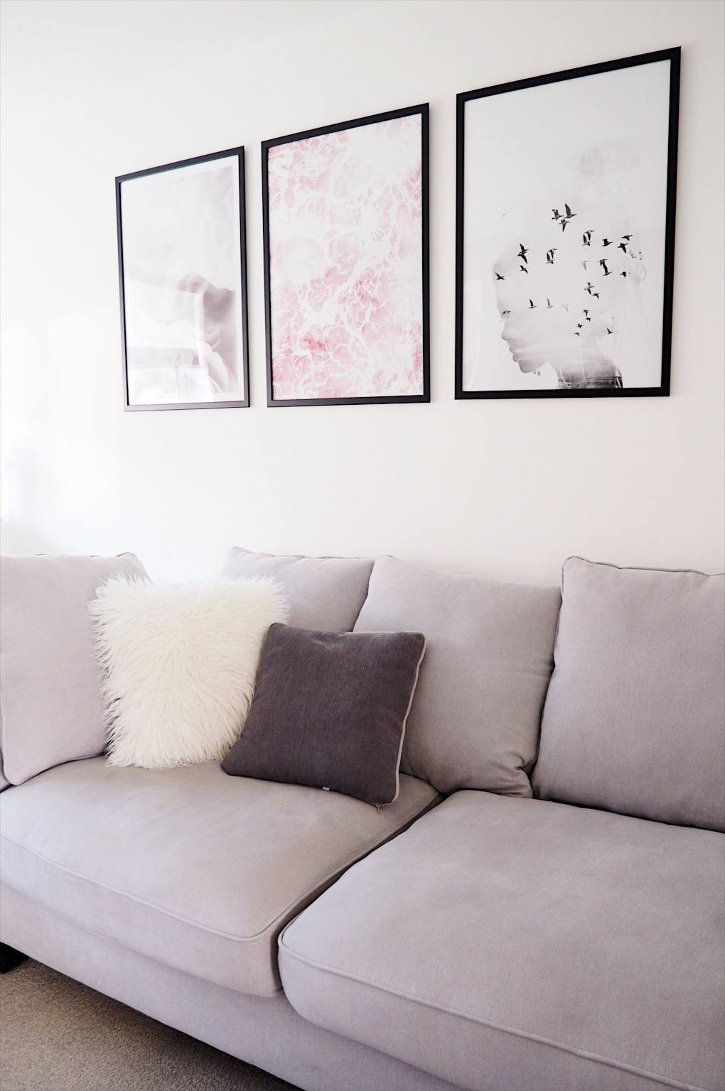 Living room wall prints pink grey and white