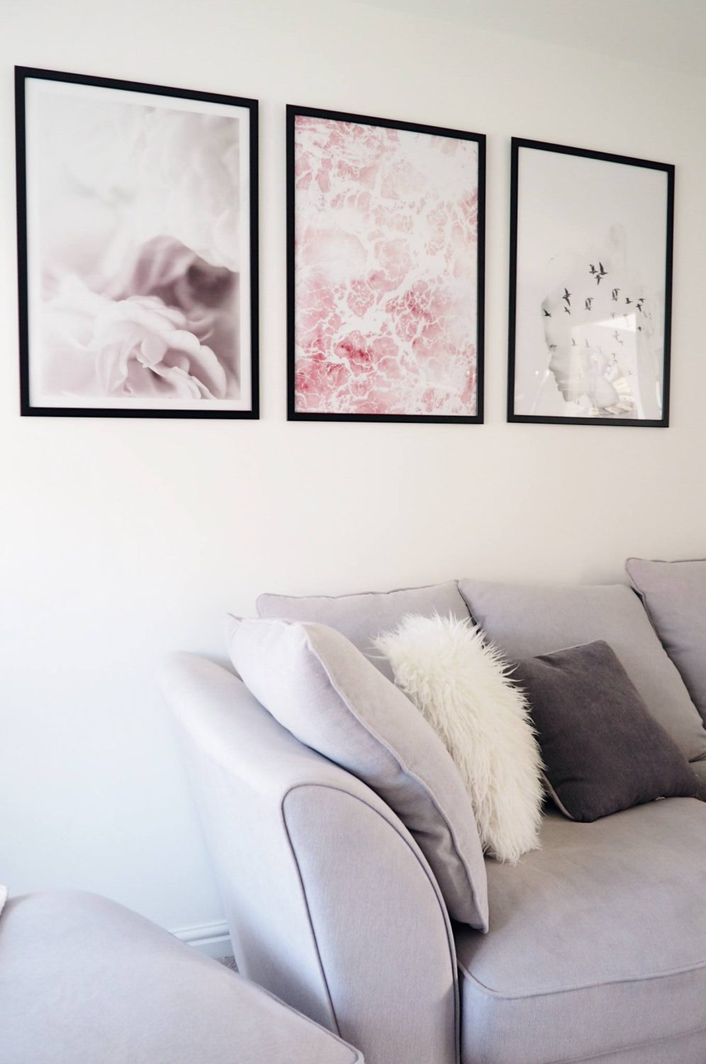 Living room wall posters pink grey and white