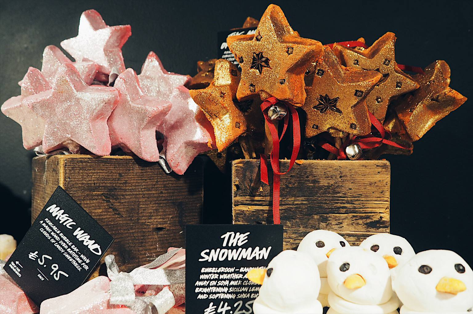 Glitter christmas products from Lush