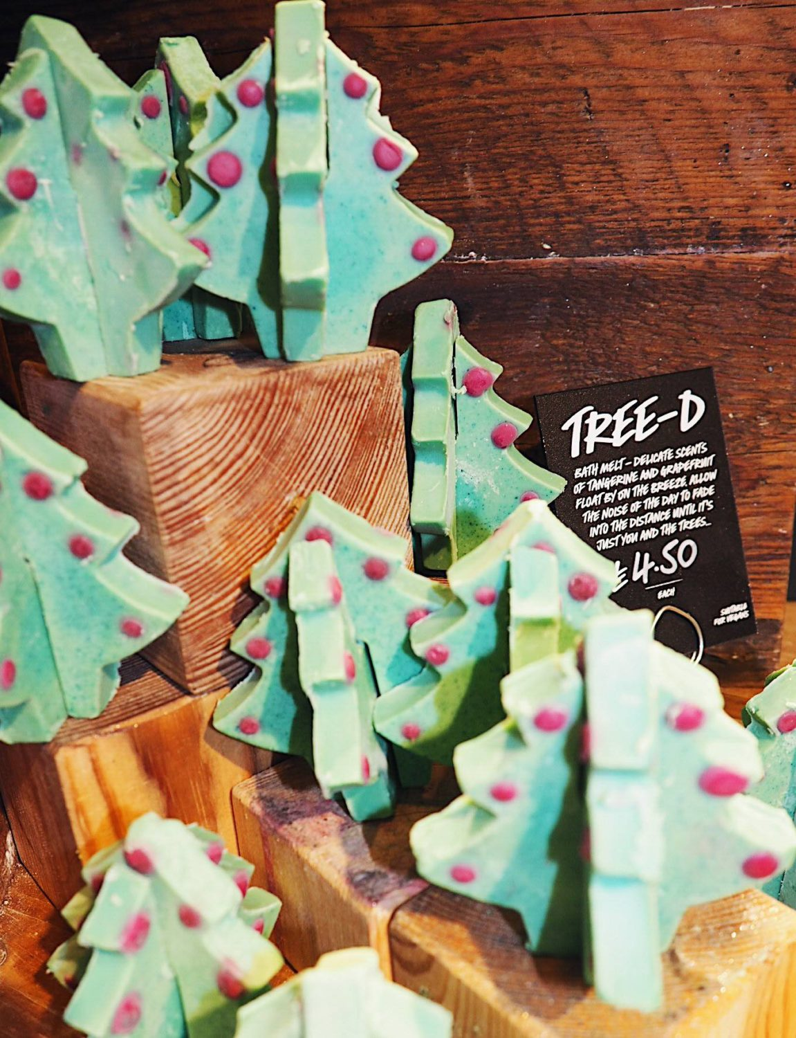 Christmas tree shaped bath products from Lush