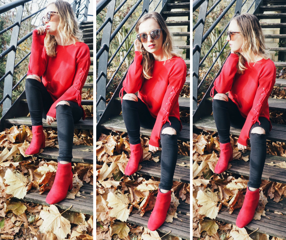 Red jumper outfit