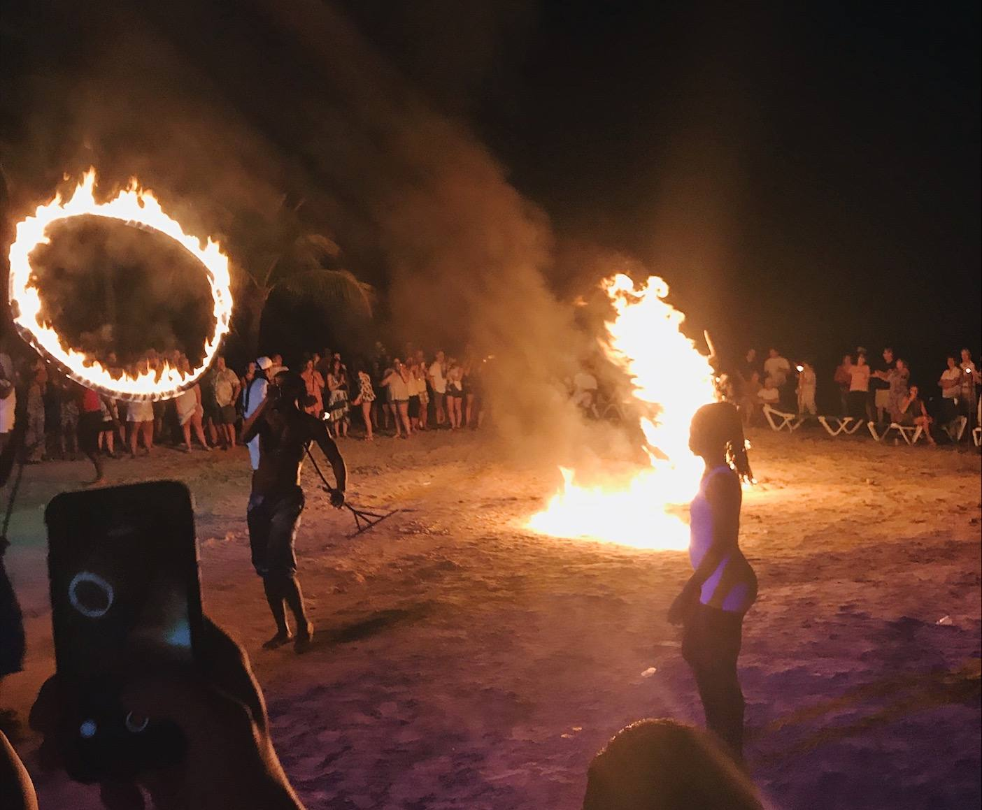 Fire dancers at Riu Hotel Ocho Rios in Jamaica