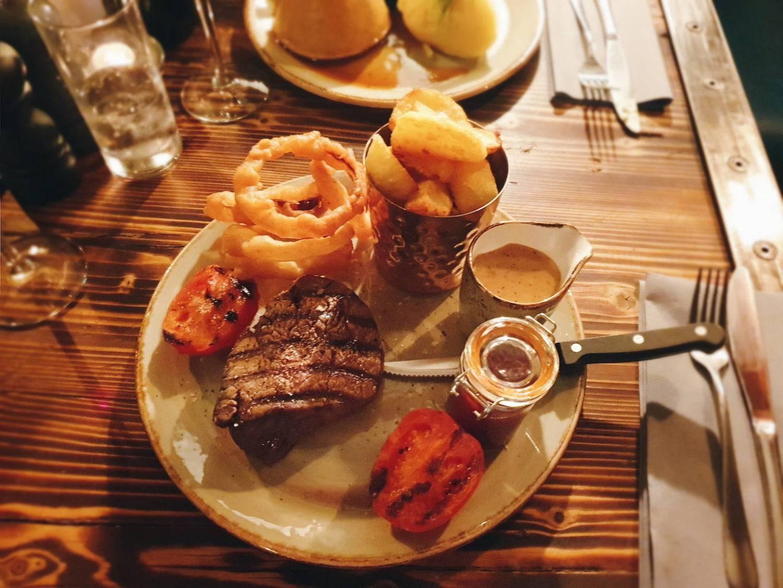 Steak dinner at Walworth Castle Hotel's 1189 restaurant